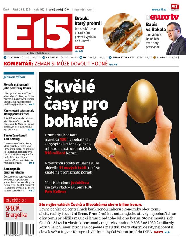 Deník E15 vychází od pondělí s novým layoutem