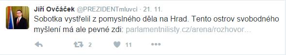 Tweetující Ovčáček: za sebe nebo za Zemana?