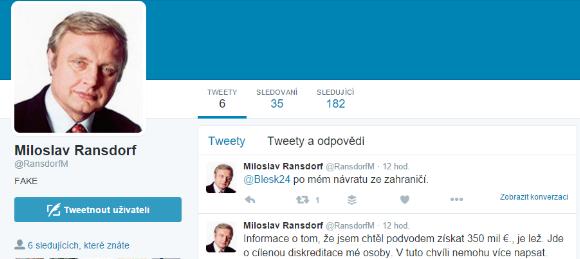 Média citovala falešný profil Miloslava Ransdorfa