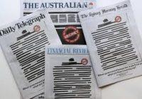 Australské deníky na protest začernily titulky